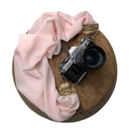 Camera Strap - Light Rose - Gold leather
