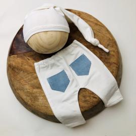 Newborn - Pants & Hat  -  ecru blue