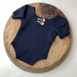 """Newborn Romper - Knitted Collection """"Baby"""" - Marine Blue"""