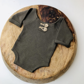 """Newborn Romper - Knitted Collection """"Baby"""" - Moss Green"""