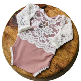 Newborn Romper - April Collection - Old Pink lace