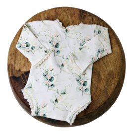 Newborn Romper - Flower Collection - Rose Eucalyptus Lace