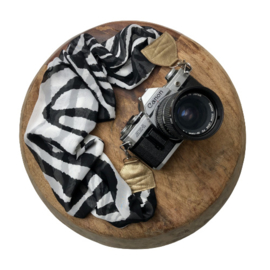 Camera Strap - Print - Gold leather