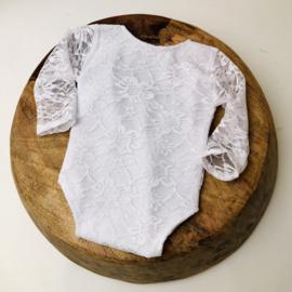 Newborn Romper - White Lace