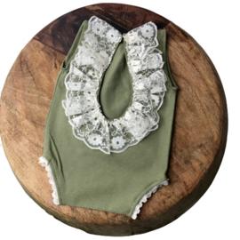 Newborn Romper - Olive Lace