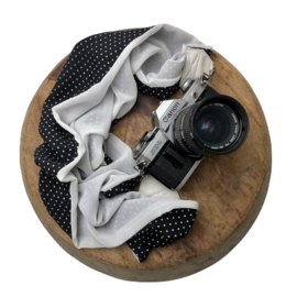 Camera Strap - Print - White leather