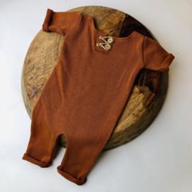 """Newborn Onesie - Knitted Collection """"Baby"""" - Cognac"""
