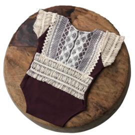 Newborn Romper - April Collection - Aubergine lace