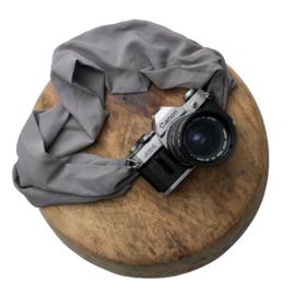 Camera Strap - Grey - Camel/Black Leather