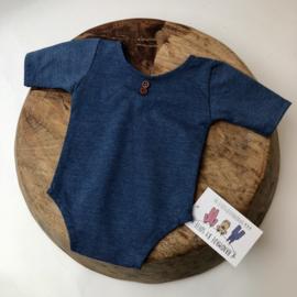 Newborn Romper -  korte mouw - Jeans Blue