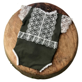 Newborn Romper - April Collection - Moss green lace