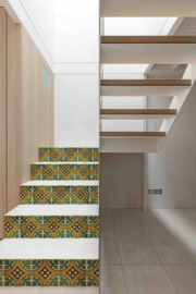 Stair sticker AZULEJO green ochre