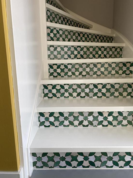 stairs sticker mosaic green