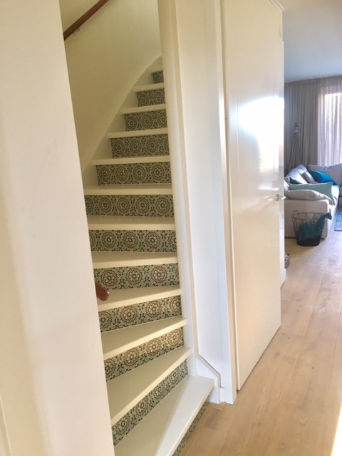 happy customer stairs decal mosaic ocre green