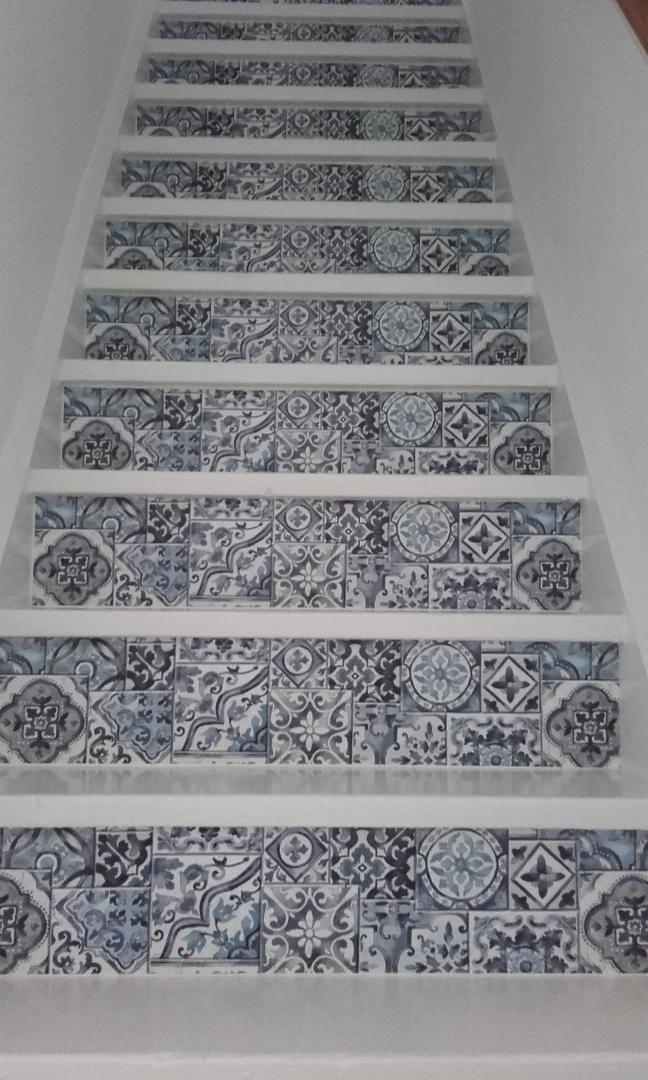 stairs stickers decals blue tiles