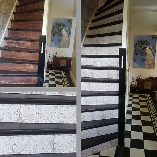 stairs sticker make over tile azulejo