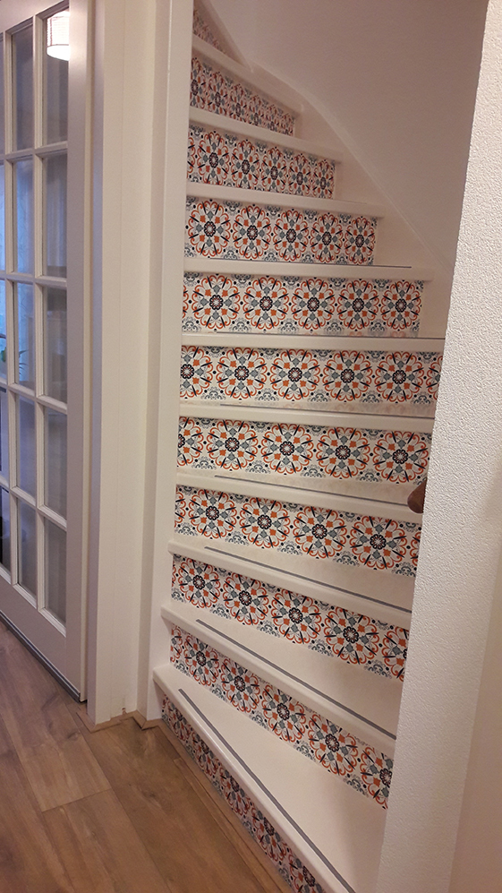 happy customer stairs stickers orange
