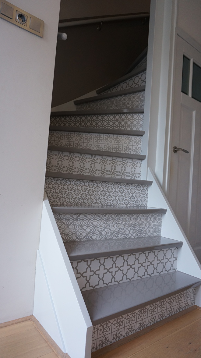 happy customer stairs sticker multy grey