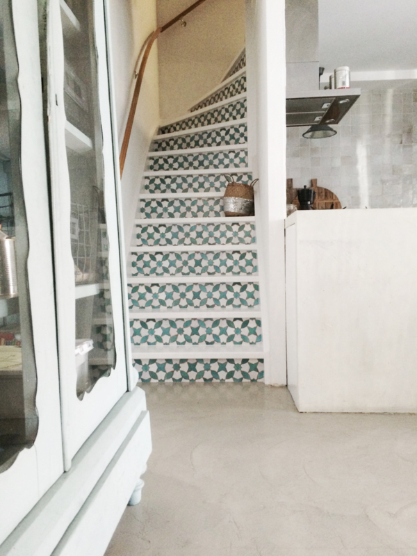 stair decal mosaic green happy customer