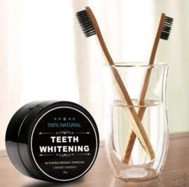 Natural Teeth Whitening Poeder + GRATIS Bamboe Tandenborstel