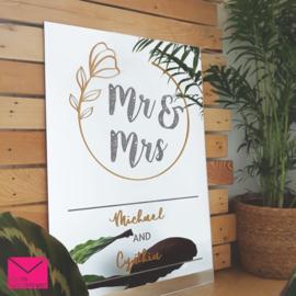 Welkomstbord bruiloft - Mr&Mrs