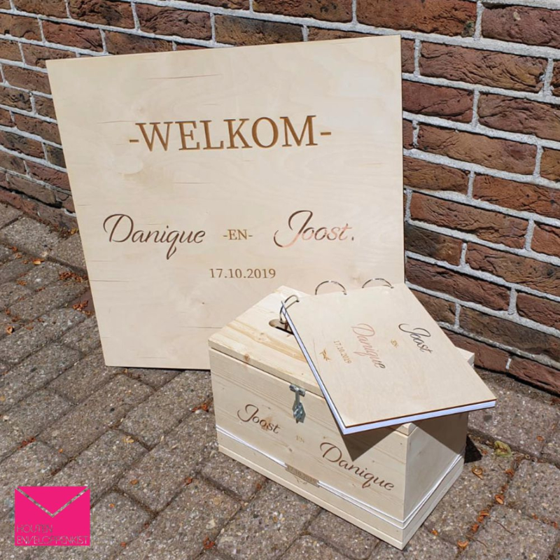 Welkomstbord bruiloft - rose