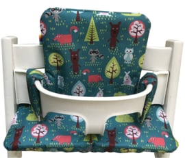 Kussenset - Trees and animals turquoise