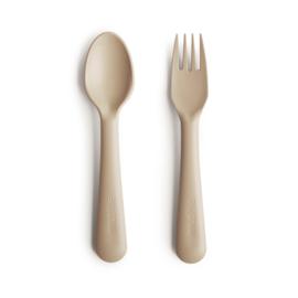 Mushie vork en lepel - Vanilla