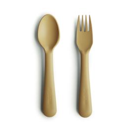 Mushie vork en lepel - Mustard