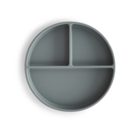 Mushie siliconen bord rond met zuignap - Stone