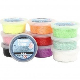 Foam Clay pakket glitter kleuren + 5 basis figuren