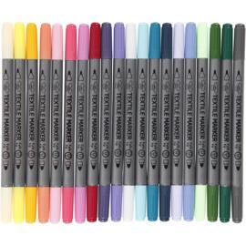 Textielstiften - extra kleuren - 20st