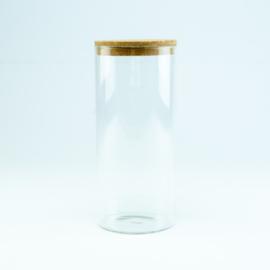 Cylinderpot (glas) met kurkstop (hoog)