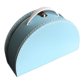 Koffertje halfrond - Lichtblauw 28 cm