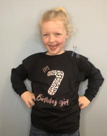 """Verjaardag shirt meisje """"I'm Birthday girl"""" vanaf maat 110"""