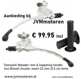 set Matador rem & koppeling hendel incl handvatten zwart 22mm 12,5 cm lengte