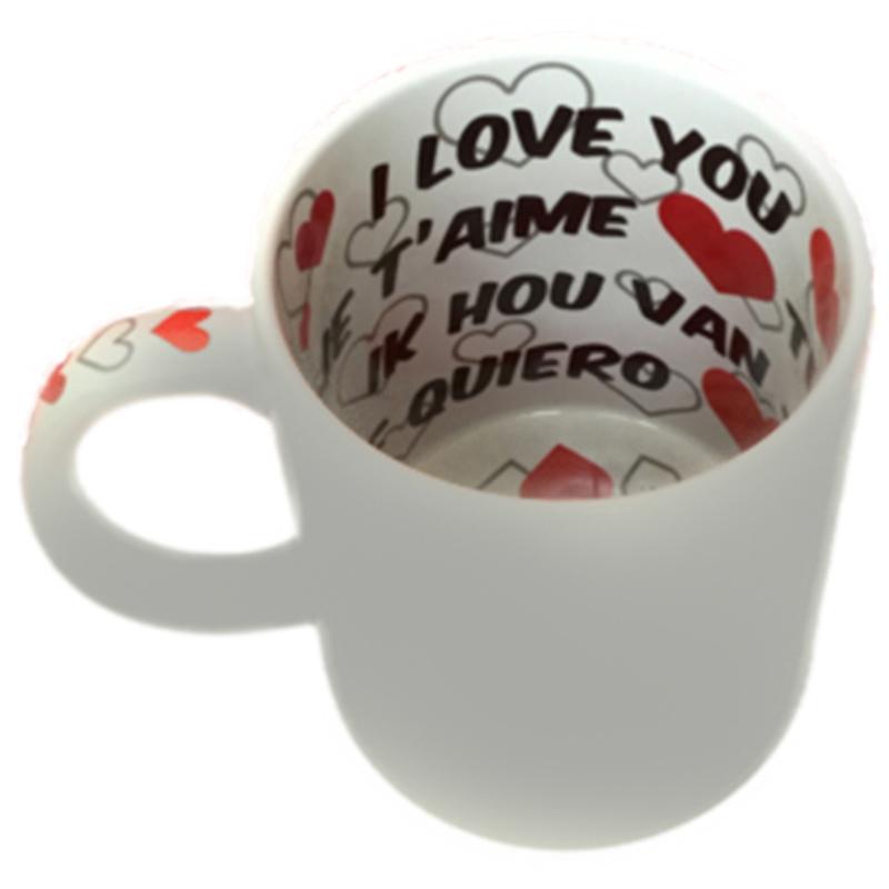 """""""I Love You"""" koffie- theemok met bedrukking"""