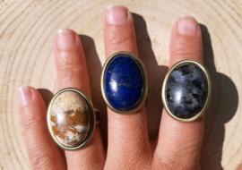 Ringen natuursteen - Landschapsjaspis, Lapis Lazuli en Labradoriet - Bronskleurig