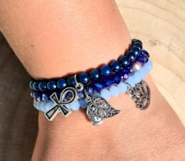 Setje vrolijke armbandjes - blauw/donkerblauw