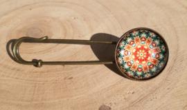 Grote spelden met mandalamotief - bronskleurig
