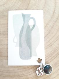 Kaart met natuurstenen bedel - zilverkleur - meerdere motieven!