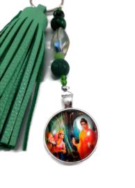 Tashanger met Boeddha en groene kwast