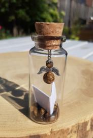 Wensflesje met engeltje en boodschap - Tijgeroog