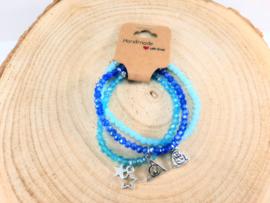 Setje vrolijke armbandjes - blauw