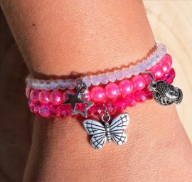 Setje vrolijke armbandjes - roze