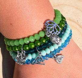 Setje vrolijke armbandjes - groen & blauw