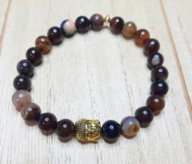 Armband met koffie agaat en goudkleurige Boeddha kraal
