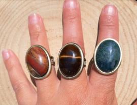 Ringen natuursteen - Jaspis, Tijgeroog en Mosagaat - bronskleurig
