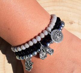Setje vrolijke armbandjes - grijs/zwart