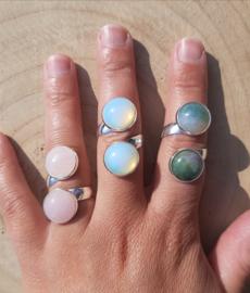 Ringen met dubbele stenen - Rozenkwarts, India Agaat, Opaliet - NIEUW!